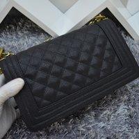 Wholesale 100 Cowhide caviar Handbag Le Boy Plaid Vintage Chain Bag Leboy Cc Chain Logo Shoulder Bags Hot Celebrity Women S High Quality