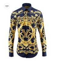 Wholesale European amp American Royal Style Cotton Shirts for Men Autumn Fashion Mens Long sleeved Digital Printed Shirts Chemise Homme
