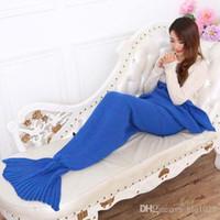 Wholesale New Yarn Knitted Mermaid Tail Blanket Handmade Crochet Mermaid Blanket Kids Throw Bed Wrap Super Soft Sleeping Bed