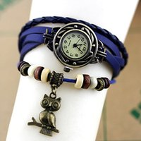 analog holiday - Vine Wrap Around Women s Bracelet Quartz Watch Leather Bracelet Wristwatch Bag holiday timepiece a bird of Minerva