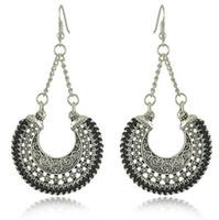 basket chandelier - Earrings for women Exaggerated hollow carved retro earrings woven metal U shaped woven baskets earrings