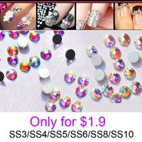 Wholesale New Crystal AB rhinestones for nails SS3 SS50 Loose Strass Glue Fixed Non Hotfix Nail Art Rhinestones Decorations