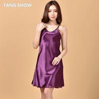 Wholesale Summer New Purple Women s Satin Spaghetti Strap Nightgown Ruffles Nightie Women Sexy Mini Robe Dress S M L XL XXL XXXL NG009