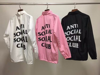 aviator logo - ANTI Social Social Club Windbreaker Men ASSC Season Logo Hip Hop Box Nylon JAKET Treinador Aviator Jacket Alpha Ceket