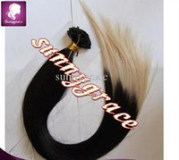 Wholesale cheap price ombre color Peruvian human hair silk straight U tip hair extension g per stand