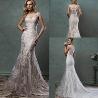 Cheap 2016 fall Winter Amelia Sposa Lace Wedding Dresses Mermaid Bridal Gowns With V Neck Sheer Tulle Back Covered Button Court Train Custom Made