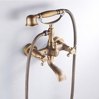 antique brass tub spout - Classical Antique Brass Bath Shower Faucet Tub Swivel Spout Mixer Tap with Hand Spray