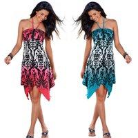 Wholesale 2016 Fashion Sexy Women No Shoulder Straps Printed Irregular Dress Nightclub Evening Dress