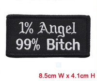 Wholesale angel bitch letters embroidery patches iron on hot cut border use in cloth hat or bag can be custom