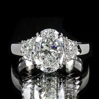 american stoves - 3 ct GIA Oval K Half Moon Three Stove Engagament Ring F VS2