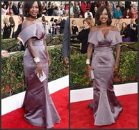 Wholesale Elegant Viola Davis Cannes Celebrity Dresses Mermaid Off Shoulder Ruffles Satin Arabic Evening Gowns Long Formal Occasion Prom Dresses