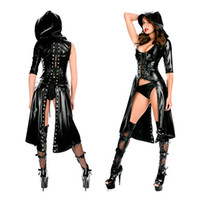 Wholesale Exotic Apparel Black Gothic Punk Wetlook Hooded Coat Leather Lingerie Set One Shoulder Lace Up Design With Thong Sexy Women Clubwear W84402