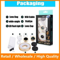 Wholesale 6 in Multi LED Lens Clip on Flash Light Fisheye Macro Wide Angle Camera Lens for iPhone s s Plus