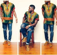 Wholesale 2017New Hipster Men African Fashion Design Traditional Print Dashiki T Shirt Dress Mexican Bazin Riche Bazin African Clothes Ethnic Clothing