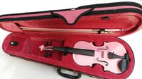 Wholesale handmand pink violin full with pink case bow
