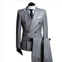 Wholesale Custom Made costume homme terno Double Breasted Light Grey Groom Suit Peak Lapel Men Wedding Suit For Men jacket Pants