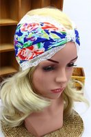 accessories lace wigs - 2016 Fashion Cotton lace ribbon printing Lady elastic Turban headbands western popular yoga Headband women hair accessories