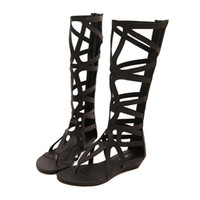 Wholesale Hot Sale Womens Knee High Sandal Hollow Out Wedge Roma Gladiator Flip Flop Sandals Shoes Summer Style Ladies Shoe