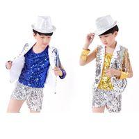 Wholesale Kid Child Sequins Dance Pants Stage Wear Boys Dance Clothes Vest Dance Top Boys Dance Clothes Dancewear Dance Costumes
