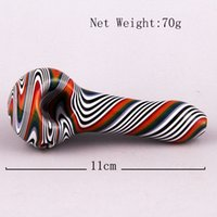 beautiful twisted - 70g Tobacco Twisted Colorful Handhold Glass Smoking Pipe Glass Bong Glass Dry Pipe Spoon Shape Glass Pipes With Beautiful Design