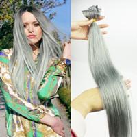 120g Clip de Brasil en extensiones del pelo humano derecho Clip de plata gris En 7pcs Clip #gray Ombre En las extensiones del pelo cabeza completa