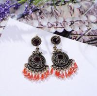 Wholesale Hot Bohemia earrings Vintage Style Tibetan Silver Bronze Resin Gem drop Earings earrings Christmas gift
