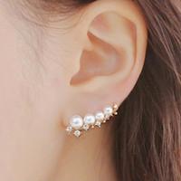 Wholesale 2016 New Fashion Jewelry Ear Cuff Earring Pearl Stud Earring Gold Plated Fine Design Nice Gift