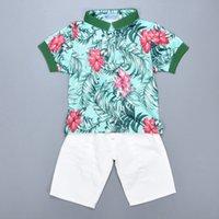 baby boy shirt pattern - Retail Floral Pattern Baby Boy Clothing Sets Summer Short sleeve Flower T shirt Denim Shorts Set Kids Girl Clothes Set