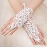 Wholesale 2016 New Arrival Cheap In Stock Lace Appliques Beads Fingerless Wrist Length With Ribbon Bridal Gloves Wedding Accessories free shiipping