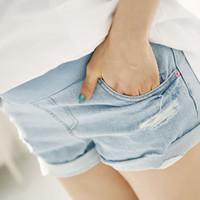 Hot vendas de verão Shorts Maternidade cintura alta Denim Shorts para a barriga grávida Mulheres Prop Shorts Jeans Gravidez Vestuário RK0086 smileseller