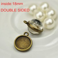 Wholesale 100 Antique Bronze mm DOUBLE SIDED Cabochon Base Mountings For Photo Pendant Round Blank Pendant Trays Vintage Findings