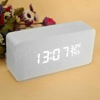 antique shows - 2015 new Modern sensor Wood Clock Dual led display Bamboo Clock digital alarm clock Led Clock Show Temp Time Voice Control