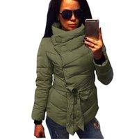 Wholesale 2016 winter jacket women Down Jacket coat irrgeular high collar with belt parkas for women winter colors warm outerwear coats