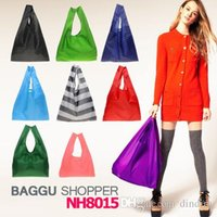 baggu canvas - New Candy color Japan Baggu Reusable Eco Friendly Shopping Tote Bag pouch Environment Safe Go Green