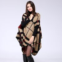 Wholesale 2016 New Brand Women s Autumn Winter Thicking all match Poncho Womens Lady Plaid Knit Shawl Cape Cashmere Blend Scarf Cloak D6045