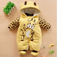 Wholesale 2016 Hot Baby Rompers Newborn Baby Girl and Boy Clothes One Pieces Thick Warm Winter Cartoon Clothing Infant Toddlers Romper