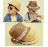 Wholesale Hot Sell Baby Boys Jazz Caps Children Fedora Hats Kids Straw Fascinator Hats Headdress Party Hats H203