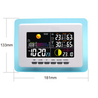 Cheap Wireless Digital Weather Station Blue Transparent Frame Backlight Alarm Clock Indoor Outdoor Temperature Humidity Transmitter