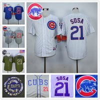 Cheap Sammy Sosa Jersey, Cheap Chicago Cubs 21# Baseball Jersey, Stitched High Quality Beige Blue Gray Green White