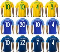 Wholesale 2016 Brazil Jersey Soccer T SILVA NEYMAR JR Football Shirt DAVID LUIZ PELE MARCELO RONALDINHO OSCAR COUTONHO LIMA