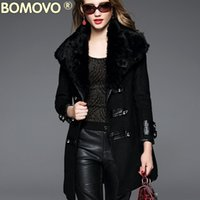 Wholesale Bomovo2016 new winter high end European and American women s long coat was thin temperament elegant woolen coat collar