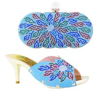 beautiful borders designs - Hot sale my lady party shoes and bag matching Italian design sky blue with nice leaves pattern with beautiful shining stones