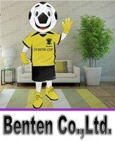 achat en gros de personnalisation des chemises-T-shirt jaune personnalisé Football Mascot Costume + Cartoon LOGO Character Fancy Dress Adult Outfit LLFA11