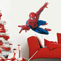 Wholesale Spiderman Stickers For Wall - 60*90cm Spiderman Removable Wall Stickers Wallpaper for Kids Rooms Creative 3D Art Wall Decals poster Superman Super Hero Home Decor