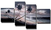 beach paintings sale - Wall Decor Black Friday Sale Panels Hand Painted Seascape Oil Paintings Gift Beach Wood Inside Framed Hanging