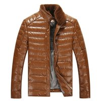 Wholesale Fall Brand Men s Leather Down Jackets Fur Collar Detachable Winter PU Leather Jackets For Male Warm Parkas Solid Casual Coats