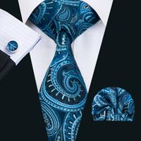 al por mayor gift set for men-Corbatas de seda clásicas para hombre Corbatas de los hombres de Paisley de los lazos azules Corbata de las mancuernas del pañuelo Jacquard tejida regalo N-1406 del banquete de boda de la reunión de negocios