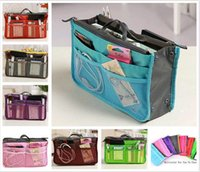 bags red gold - Women Fashion Organizer Travel Bag Purse Handbag Insert Tidy Makeup Cosmetic bag Storage Phone bag Pouch Tote Sundry MP3 Mp4 bags A137