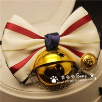 Wholesale 2016 new fashion handmade jewelry Bell bow tie cats dog large Cat Supplies Leads mascota Pet Product collars Cat Accessories