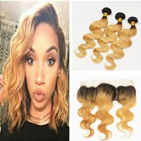 Wholesale 9A Ombre Hair Extensions b Honey Blonde Ombre Human Hair With Lace Frontal Closure Two Tone Body Wave Hair Weaves